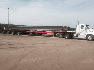 12' by 80' concrete double tee load for CarGill Kitchen Solutions job at Lake Odessa plant.